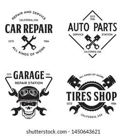 Set of vintage monochrome car repair service templates of emblems, labels, badges and logos. Service station auto parts tires shop mechanic on duty. Vector illustration.