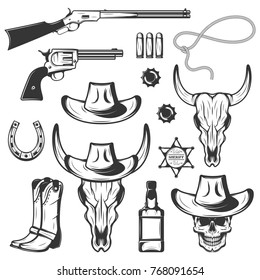 Set of vintage monochrome rodeo elements with weapons western objects cowboys and bull skull isolated on white background