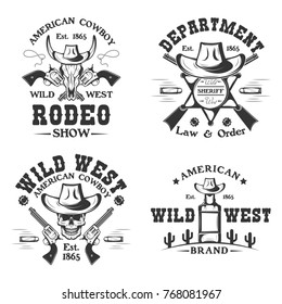 Set of vintage monochrome Rodeo show, Cowboy, Sheriff emblems, labels, badges, logos isolated on white background