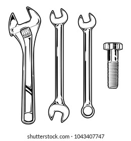 Set of vintage monochrome wrenches and bolt. Isolated on white background. Vector EPS 10.
