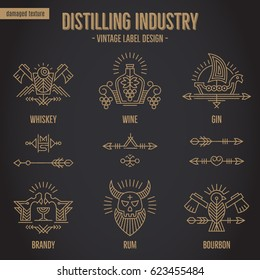 Set of vintage moonshine alcohol logo design with additional ethnic elements in thin line style. Distillery industry bottle emblems, distilling business. Monochrome, gold on black. Textured