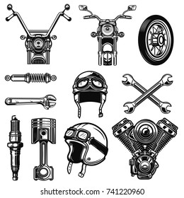 Set of vintage motorcycle design elements isolated on white background. Design element for logo, label, emblem, sign, poster, t shirt. Vector illustration