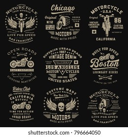 Set of vintage motorcycle emblems. T-shirt graphics for print and other user. Vector