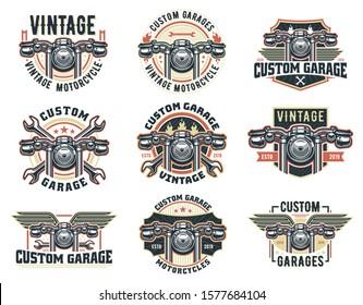A set of Vintage motorcycle logo template, vector pack retro custom garage emblem or badge.