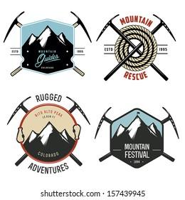 Set of vintage mountain explorer labels and badges