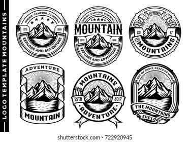 Set of vintage mountain labels and design elements, logo template