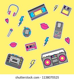 Set with vintage music and game equipment stickers from 90 s audio tape, headphone, tape recorder, cassette, tamagotchi, tetris