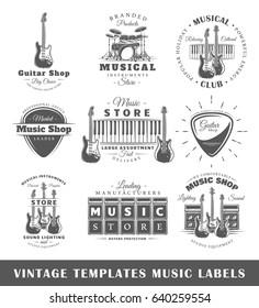 Set of vintage musical labels templates. Elements for design. Vector illustration