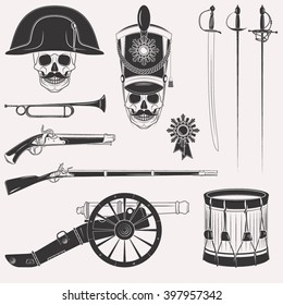 Set of vintage Napoleon Empire French Russian war uniform, equipment, weapons, horn, drum, cannon, sword, rapier, medal, skull in hats isolated on white background