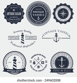 Set of vintage nautical badger and labels. Vector logo