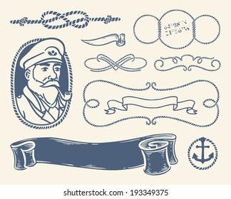Set of vintage nautical decorative items, symbols and illustrations over white background.