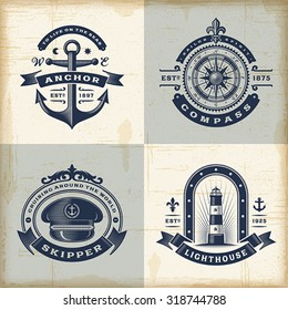 Set of vintage nautical labels. Editable EPS10 vector illustration with transparency.