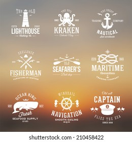 Set of Vintage Nautical Labels Logos and Signs With Retro Typography on Blurred Background Anchors Steering Wheel Knots Seagulls and Wale