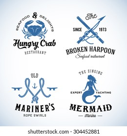 Set of Vintage Nautical Sea Labels with Retro Typography. Good for Seafood Restaurant or Cafe, Marina, Sail Crew, etc. Isolated.