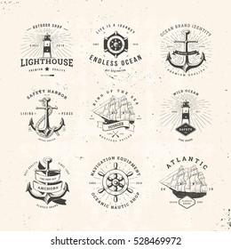 Set of Vintage Nautical Typographical Logos