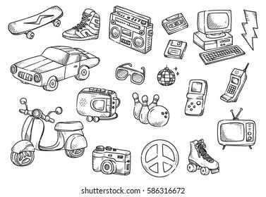 Set of vintage object doodle isolated on white background
