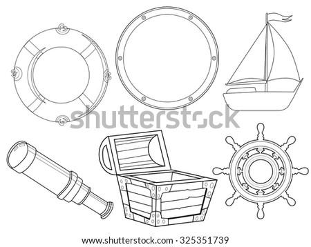 Set Vintage Objects Marine Motive Stock Vector Royalty Free