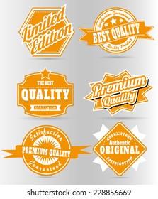 set of vintage orange quality labels