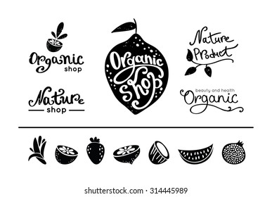 Set of vintage organic food logos and labels. Different silhouette fruits