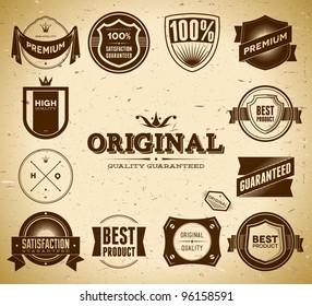 Set of vintage Original an Premium Quality labels