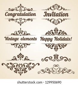 Set of vintage ornaments with floral elements for invitation, congratulation and greeting card