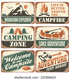 Set of vintage outdoor camp signs and poster templates.