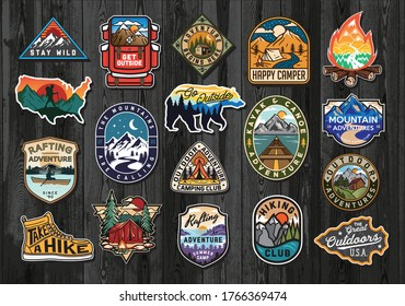 Set of Vintage Outdoor Summer Camp Logo Patches on Wood board. Hand drawn and vector emblem designs. Great for shirts, stamps, stickers logos and labels.