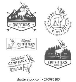 Set of vintage outdoors labels, badges and design elements