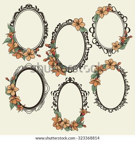 Set Vintage Oval Frames Decorated Flowers Stock Vector (Royalty Free ...