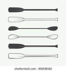 Set of vintage paddles. Vector illustration