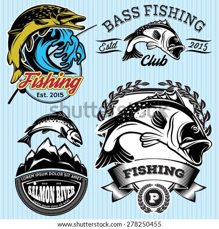 Set Vintage Patterns Emblems Fishing Pike Stock Vector
