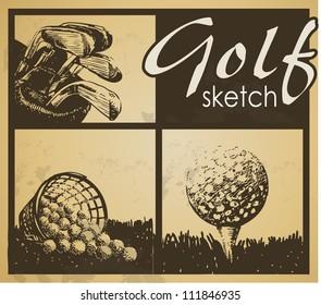 Set of vintage patterns. Golf