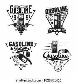 Set of Vintage Petrol station logo designs, emblems of gasoline station, Gas or diesel filling station typographyv emblems, print stamps with easy removable grange, Vector