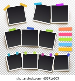 Set of vintage photo frame with adhesive tape. Vector illustration Eps10 with adhesive tapes. Photorealistic vector mockups on a transparent background. Retro photo frame template for your photos.