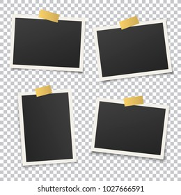 Set of vintage photo frame with golden adhesive tape. Vintage style. Vector illustration with gold adhesive tapes. Photorealistic vector EPS10 mockups. Retro photo frame template for your photos.