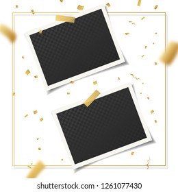 Set of vintage photo frames with adhesive tape, golden confetti and gold square 3d frame. Vector illustration with adhesive tapes. Photo realistic vector mockups. Retro photo frame Template for photos