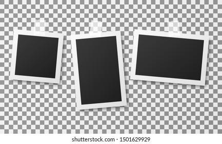 Set of vintage photo frames isolated on transparent background.