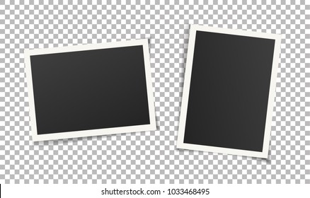 Set of vintage photo frames without adhesive tape. Scrapbook design. Vector illustration of picture frame templates on transparent background for photos. Photorealistic EPS10 mockups with shadow.