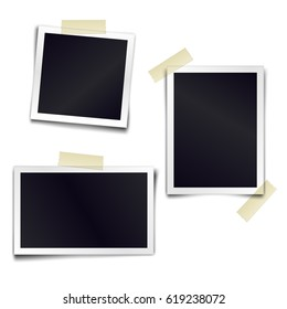 Set of vintage photorealistic photo frame sticked on duct tape to white background. Template mockups for design. Vector illustration