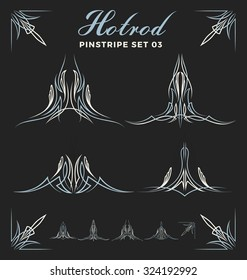 Set of vintage pinstripe line art. include un-expand path. use for vinyl sticker, painting template, tattoo. Vector illustration