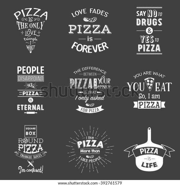 Set Vintage Pizza Typographic Quotes Stock Vector Royalty