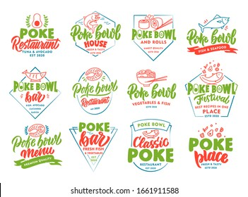 Set of vintage Poke Bowl emblems and stamps. Colorful seafood badges, stickers on white background isolated. Collection of retro logos with hand-drawn text, phrases. Vector illustration.