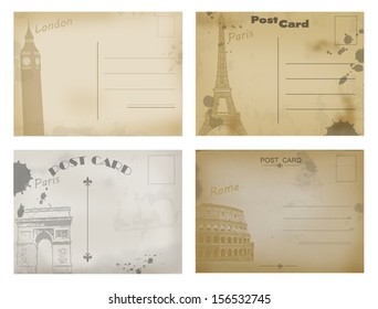 Set of vintage postcard designs with London, Paris and Rome, vector illustration