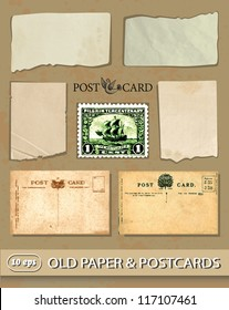 set of vintage postcards, old paper, postage stamp.