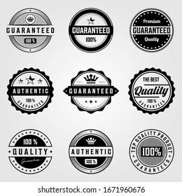 set of vintage premium retro premium guaranteed badges logo illustration vector design