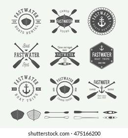 Set of vintage rafting logo, labels and badges. Graphic Art. Vector illustration