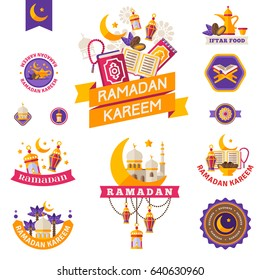Set Of Vintage Ramadan Kareem Badges and Labels. Ribbons, Flat Icons and Other Elements. Vector illustration. Eid Mubarak. Quran, Traditional Lanterns, Dates, Iftar food, Crescent and stars
