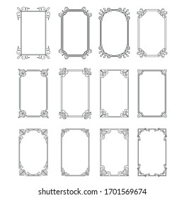 Set of vintage rectangular ornate ornaments. Retro decorative frames. Wedding frames. Vector illustration.