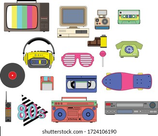 Set of vintage retro 1980s style items that symbolize the 80s decade, tv, vhs, pc, cassete, skate and more, icon isolated. Easy to combine and edit