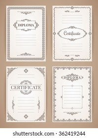 Set of Vintage Retro Backgrounds. Vector Design Templates Collection for Diploma, Certificate, Posters and other use.